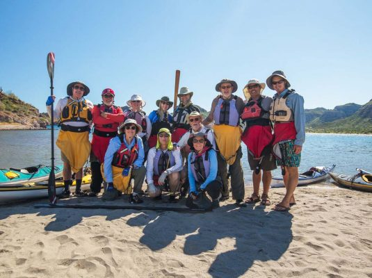baja kayaking group photo by paddling south