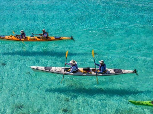 kayaking the blue waters of the sea of cortez